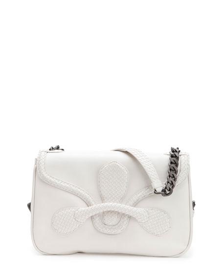 Bottega Veneta Medium Intrecciato Flap Shoulder Bag, White