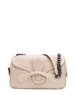 Bottega Veneta Medium Intrecciato Flap Shoulder Bag, Off White