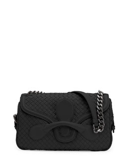 Bottega Veneta Medium Intrecciato Flap Shoulder Bag, Black