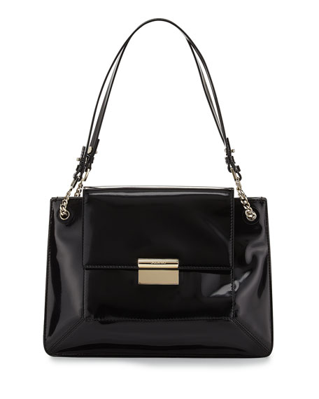 Christy Leather Shoulder Bag, Black
