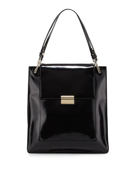 Christy Calfskin Shopper Tote Bag, Black