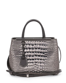 Fendi 2Jours Croc-Print Mini Tote Bag, Silver Mirror