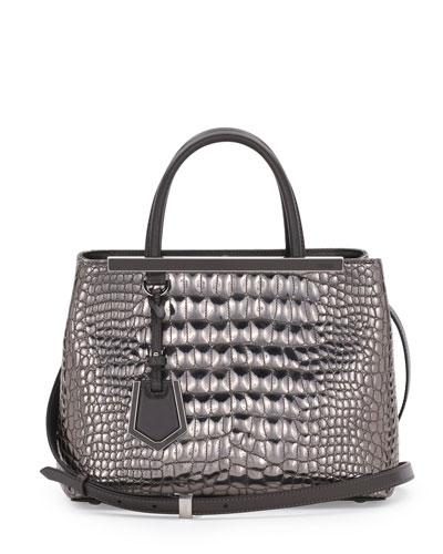 Fendi 2Jours Croc-Print Petit Tote Bag, Silver Mirror