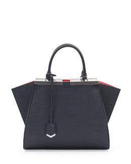 Fendi Trois-Jour Petit Bicolor Tote Bag, Navy/Orange