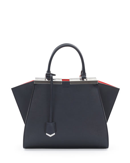 Trois-Jour Petit Bicolor Tote Bag, Navy/Orange