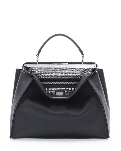 Fendi Peekaboo Large Croc-Stitched Satchel Bag, Black/Silver