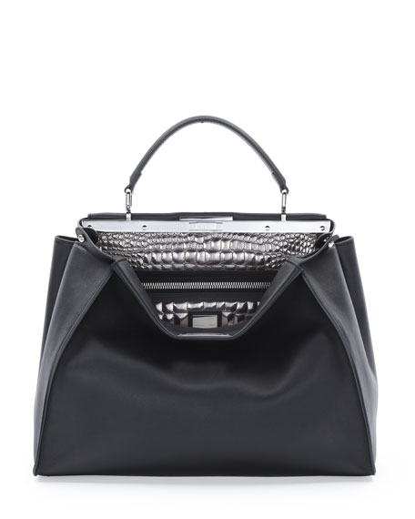 Peekaboo Large Croc-Stitched Satchel Bag, Black/Silver