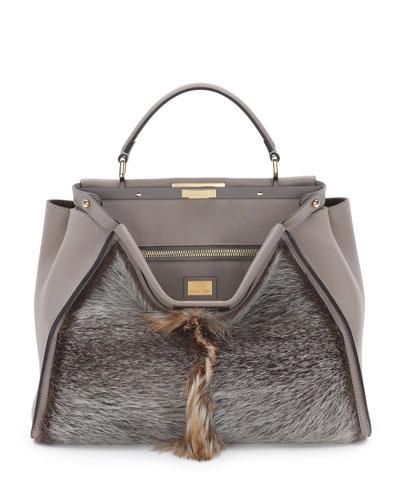 Fendi Peekaboo Large Fur Tote Bag, Brown Multi
