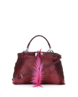 Fendi Peekaboo Gazelle Fur Mini Tote Bag, Pink Multi