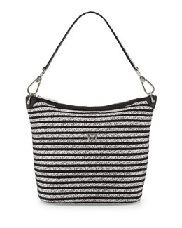 Eric Javits Dame Bucket Shoulder Bag, Silver/Black