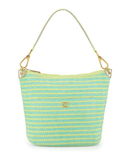 Eric Javits Dame Bucket Shoulder Bag, Tulum (Yellow/Turquoise)