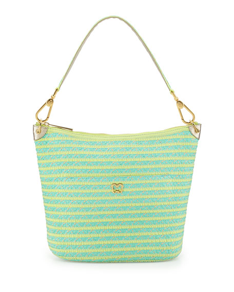 Dame Bucket Shoulder Bag, Tulum (Yellow/Turquoise)