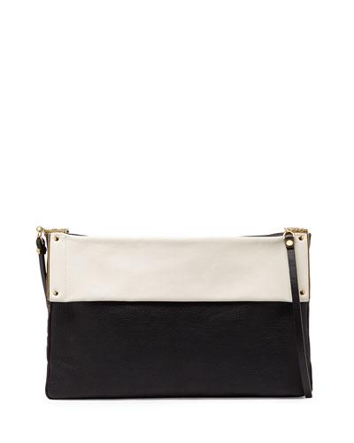 Bicolor Leather Shoulder Bag, Black