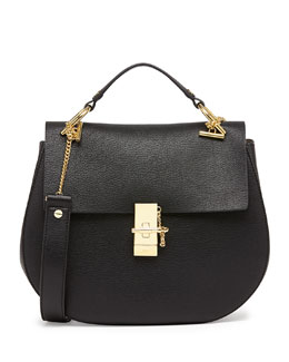 Chloe Drew Medium Calfskin Shoulder Bag, Black