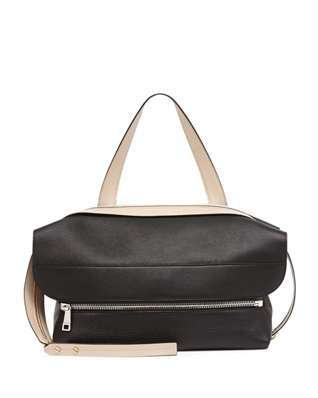 Dalston Leather Shoulder Bag, Black/Beige