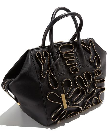 Cavendish Faux-Napa Zipper Boston Tote Bag, Black