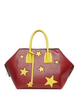 Stella McCartney Cavendish Stars Faux-Napa Boston Tote Bag, Bordeaux/Yellow