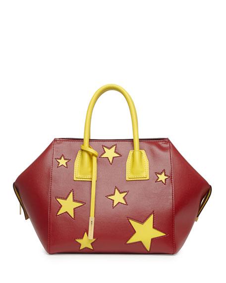 Cavendish Stars Faux-Napa Boston Tote Bag, Bordeaux/Yellow