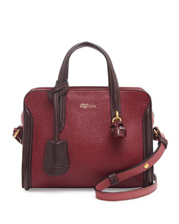 Alexander McQueen Mini Padlock Zip-Around Satchel Bag, Red/Pink