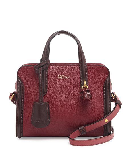 Mini Padlock Zip-Around Satchel Bag, Red/Pink