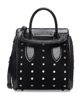 Alexander McQueen Heroine Spiked Satchel Bag with Crossbody Strap, Black