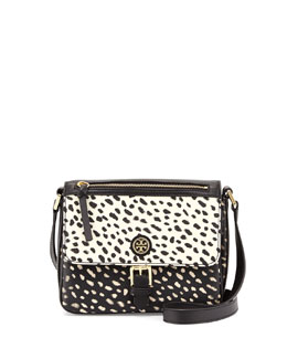 Tory Burch Kerrington Spotted Vinyl Mini Crossbody Bag, Black/White