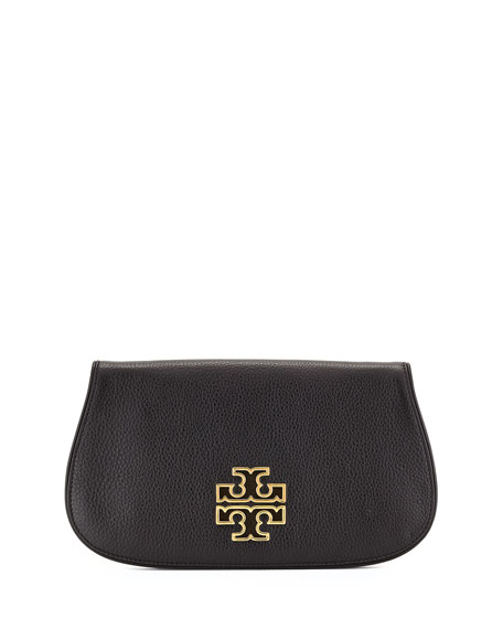 Tory Burch Britten Leather Flap Clutch Bag, Black