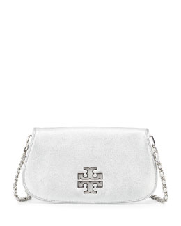 Tory Burch Britten Metallic Clutch Bag, Silver