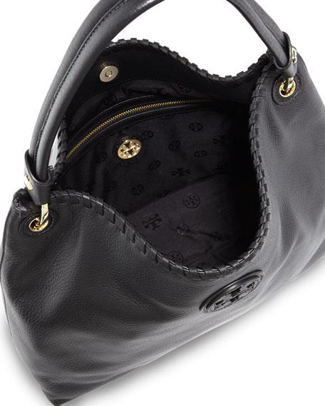 Marion Leather Hobo Bag, Black