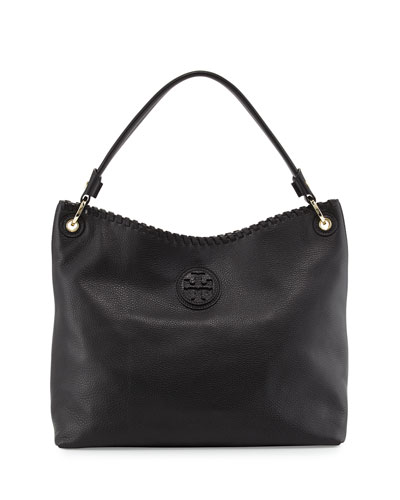 Tory Burch Marion Leather Hobo Bag, Black