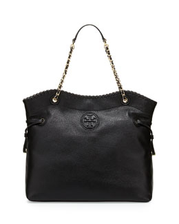 Tory Burch Marion Slouchy Drawstring Tote Bag, Black