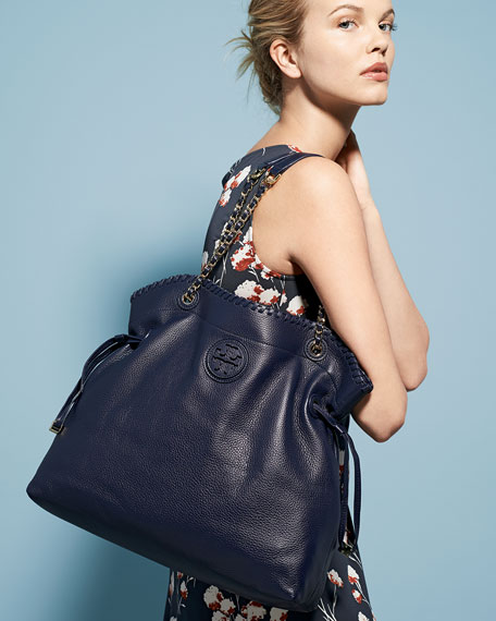 Marion Slouchy Drawstring Tote Bag, Tory Navy