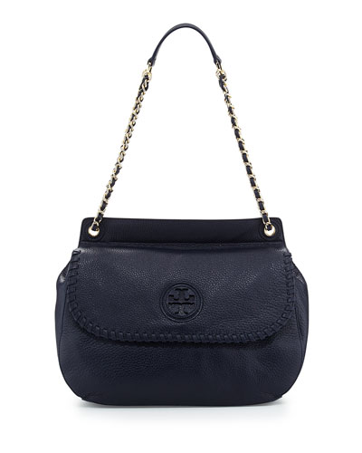 Tory Burch Marion Leather Saddle Bag, Tory Navy