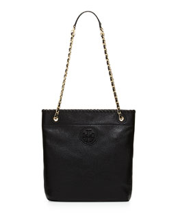 Tory Burch Marion Leather Book Bag, Black