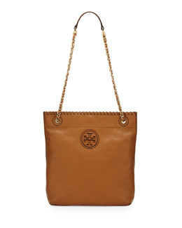 Tory Burch Marion Leather Book Bag, Royal Tan