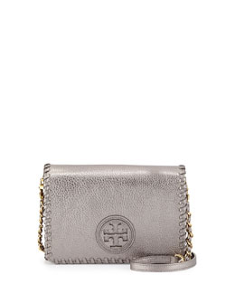 Tory Burch Marion Metallic Combo Crossbody Bag, Gunmetal