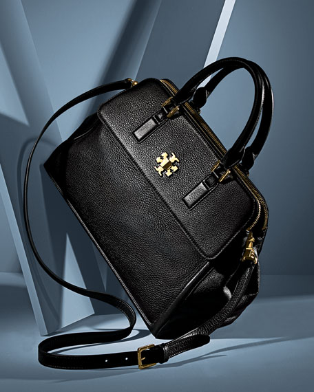 Mercer Leather Dome Satchel Bag, Black