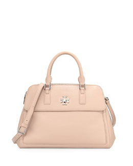 Tory Burch Mercer Double-Zip Dome Satchel Bag, Light Oak