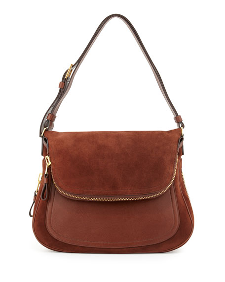 TOM FORD Jennifer Suede Shoulder Bag, Brown