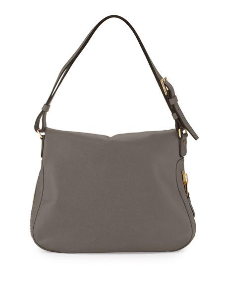 Jennifer Large Leather Shoulder Bag, Graphite