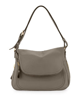 Tom Ford Jennifer Large Leather Shoulder Bag, Graphite
