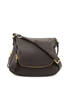 Tom Ford Jennifer Medium Calfskin Shoulder Bag, Dark Brown