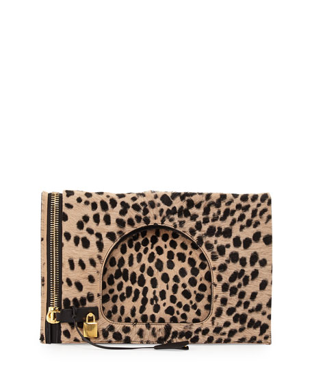 TOM FORD Alix Calf Hair Padlock & Zip Shoulder Bag, Cheetah