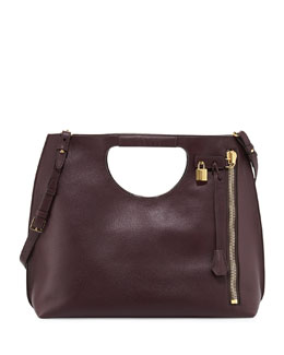 Tom Ford Alix Leather Padlock & Zip Shoulder Tote Bag, Bordeaux