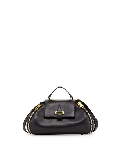 Tom Ford Small Round Crossbody Doctor Bag, Black