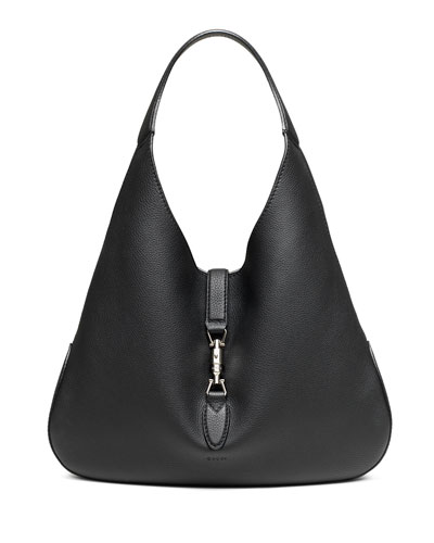 Jackie Soft Leather Hobo Bag, Black