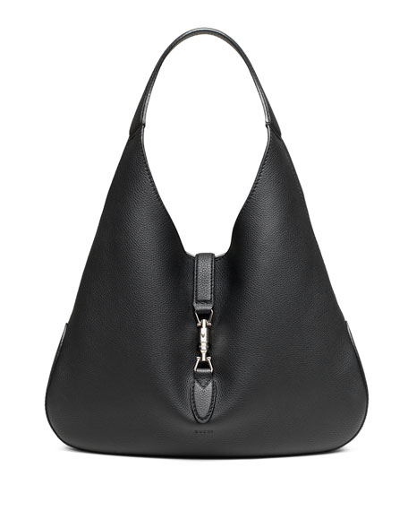 Gucci Jackie Soft Leather Hobo Bag, Black | Neiman Marcus