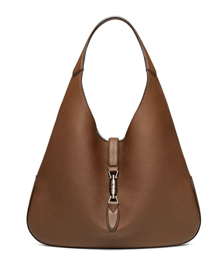 Jackie Soft Leather Hobo Bag, Luggage Brown