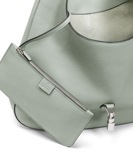 Jackie Soft Leather Hobo Bag, Light Blue