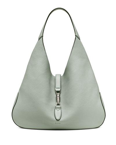 Gucci Jackie Soft Leather Hobo Bag, Light Blue